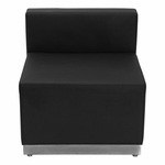 HERCULES Alon Series Black Leather Chair with Brushed Stainless Steel Base [ZB-803-CHAIR-BK-GG]