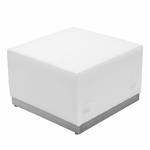 HERCULES Alon Series White Leather Ottoman with Brushed Stainless Steel Base [ZB-803-OTTOMAN-WH-GG]