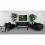 HERCULES Definity Series Reception Set in Black with Free Coffee and End Table [ZB-DEFINITY-8009-SET-BK-GG]