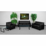 HERCULES Diplomat Series Reception Set in Black with Free Coffee and End Table [BT-827-SET-BK-GG]