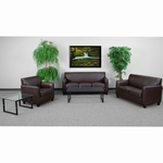 HERCULES Diplomat Series Reception Set in Brown with Free Coffee and End Table [BT-827-SET-BN-GG]