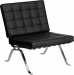 HERCULES Flash Series Black Leather Lounge Chair with Curved Legs [ZB-FLASH-801-CHAIR-BK-GG]