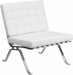 HERCULES Flash Series Melrose White Leather Lounge Chair with Curved Legs [ZB-FLASH-801-CHAIR-WHITE-GG]