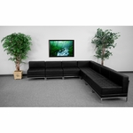 HERCULES Imagination Series Black Leather Sectional Configuration, 7 Pieces [ZB-IMAG-SECT-SET6-GG]