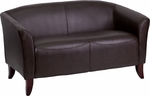 HERCULES Imperial Series Brown Leather Loveseat [111-2-BN-GG]