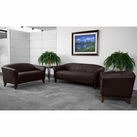 HERCULES Imperial Series Reception Set in Brown with Free Coffee and End Table [111-SET-BN-GG]