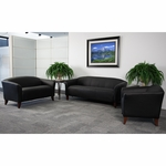 HERCULES Imperial Series Reception Set in Black with Free Coffee and End Table [111-SET-BK-GG]