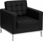 HERCULES Lacey Series Contemporary Black Leather Chair with Stainless Steel Frame [ZB-LACEY-831-2-CHAIR-BK-GG]