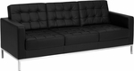 HERCULES Lacey Series Contemporary Black Leather Sofa with Stainless Steel Frame [ZB-LACEY-831-2-SOFA-BK-GG]