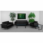 HERCULES Lacey Series Reception Set in Black with Free Coffee and End Table [ZB-LACEY-831-2-SET-BK-GG]