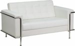 HERCULES Lesley Series Contemporary White Leather Loveseat with Encasing Frame [ZB-LESLEY-8090-LS-WH-GG]