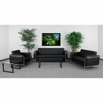 HERCULES Lesley Series Reception Set in Black with Free Coffee and End Table [ZB-LESLEY-8090-SET-BK-GG]