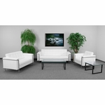 HERCULES Lesley Series Reception Set in White with Free Coffee and End Table [ZB-LESLEY-8090-SET-WH-GG]