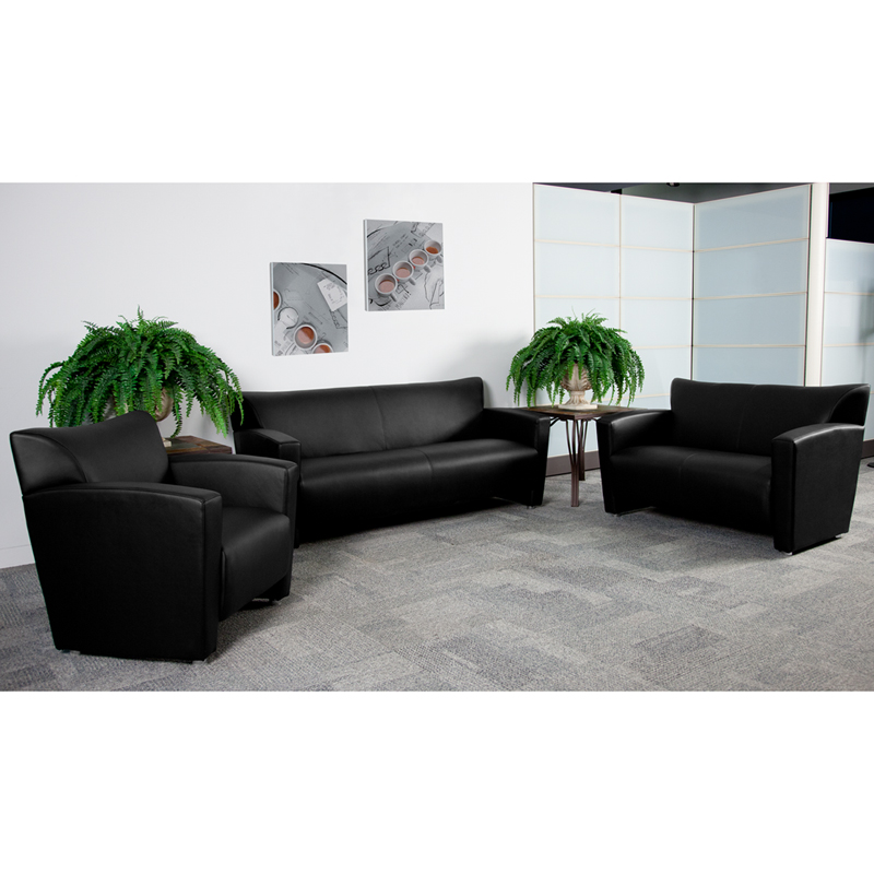 hercules majesty series black leather loveseat 2222bkgg by flash furniture bizchaircom
