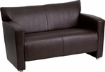 HERCULES Majesty Series Brown Leather Loveseat [222-2-BN-GG]