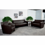 HERCULES Majesty Series Reception Set in Brown with Free Coffee and End Table [222-SET-BN-GG]