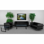 HERCULES Regal Series Reception Set in Black with Free Coffee and End Table [ZB-REGAL-810-SET-BK-GG]