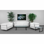 HERCULES Regal Series Reception Set in White with Free Coffee and End Table [ZB-REGAL-810-SET-WH-GG]