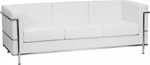 HERCULES Regal Series Contemporary White Leather Sofa with Encasing Frame [ZB-REGAL-810-3-SOFA-WH-GG]