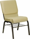 HERCULES Series 18.5''W Church Chair in Beige Patterned Fabric with Book Rack - Gold Vein Frame [XU-CH-60096-BGE-BAS-GG]