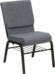 HERCULES Series 18.5''W Church Chair in Gray Fabric with Book Rack - Gold Vein Frame [XU-CH-60096-BEIJING-GY-BAS-GG]