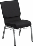HERCULES Series 18.5''W Church Chair in Black Patterned Fabric with Cup Book Rack - Silver Vein Frame [FD-CH02185-SV-JP02-BAS-GG]