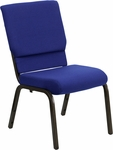 HERCULES Series 18.5''W Stacking Church Chair in Navy Blue Fabric - Gold Vein Frame [XU-CH-60096-NVY-GG]