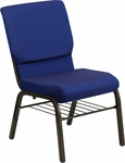 HERCULES Series 18.5''W Church Chair in Navy Blue Patterned Fabric with Book Rack - Gold Vein Frame [XU-CH-60096-NVY-DOT-BAS-GG]
