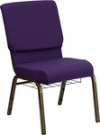HERCULES Series 18.5''W Church Chair in Royal Purple Fabric with Cup Book Rack - Gold Vein Frame [FD-CH02185-GV-ROY-BAS-GG]