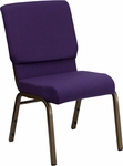 HERCULES Series 18.5''W Stacking Church Chair in Royal Purple Fabric - Gold Vein Frame [FD-CH02185-GV-ROY-GG]