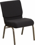 HERCULES Series 21''W Stacking Church Chair in Black Dot Patterned Fabric - Gold Vein Frame [FD-CH0221-4-GV-S0806-GG]