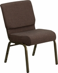 HERCULES Series 21''W Stacking Church Chair in Brown Fabric - Gold Vein Frame [FD-CH0221-4-GV-S0819-GG]