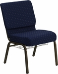HERCULES Series 21''W Church Chair in Navy Blue Dot Patterned Fabric with Book Rack - Gold Vein Frame [FD-CH0221-4-GV-S0810-BAS-GG]