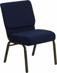 HERCULES Series 21''W Stacking Church Chair in Navy Blue Dot Patterned Fabric - Gold Vein Frame [FD-CH0221-4-GV-S0810-GG]