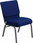 HERCULES Series 21''W Stacking Church Chair in Navy Blue Fabric - Silver Vein Frame [FD-CH0221-4-SV-NB24-GG]