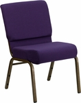 HERCULES Series 21''W Stacking Church Chair in Royal Purple Fabric - Gold Vein Frame [FD-CH0221-4-GV-ROY-GG]