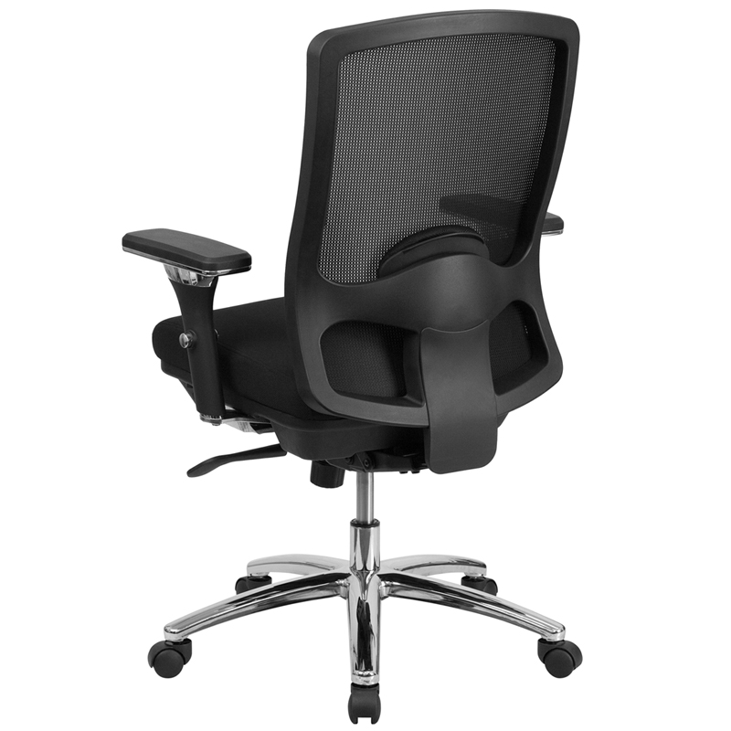 use big tall 350 lb rated black mesh multifunction swivel chair