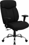 HERCULES Series Big & Tall 400 lb. Rated Black Fabric Executive Swivel Chair with Adjustable Arms [GO-1235-BK-FAB-A-GG]