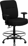 HERCULES Series Big & Tall 400 lb. Rated Black Fabric Drafting Chair with Adjustable Arms [WL-735SYG-BK-AD-GG]