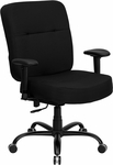 HERCULES Series Big & Tall 400 lb. Rated Black Fabric Executive Swivel Chair with Adjustable Arms [WL-735SYG-BK-A-GG]