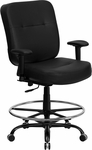 HERCULES Series Big & Tall 400 lb. Rated Black Leather Drafting Chair with Adjustable Arms [WL-735SYG-BK-LEA-AD-GG]