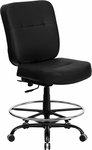 HERCULES Series Big & Tall 400 lb. Rated Black Leather Drafting Chair [WL-735SYG-BK-LEA-D-GG]