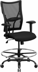 HERCULES Series Big & Tall 400 lb. Rated Black Mesh Drafting Chair with Adjustable Arms [WL-5029SYG-AD-GG]