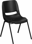 HERCULES Series 440 lb. Capacity Black Ergonomic Shell Stack Chair with Black Frame and 12'' Seat Height [RUT-12-PDR-BLACK-GG]