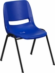 HERCULES Series 440 lb. Capacity Navy Ergonomic Shell Stack Chair with Black Frame and 14'' Seat Height [RUT-14-NVY-BLACK-GG]