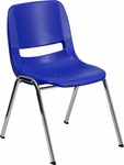 HERCULES Series 440 lb. Capacity Navy Ergonomic Shell Stack Chair with Chrome Frame and 14'' Seat Height [RUT-14-NVY-CHR-GG]
