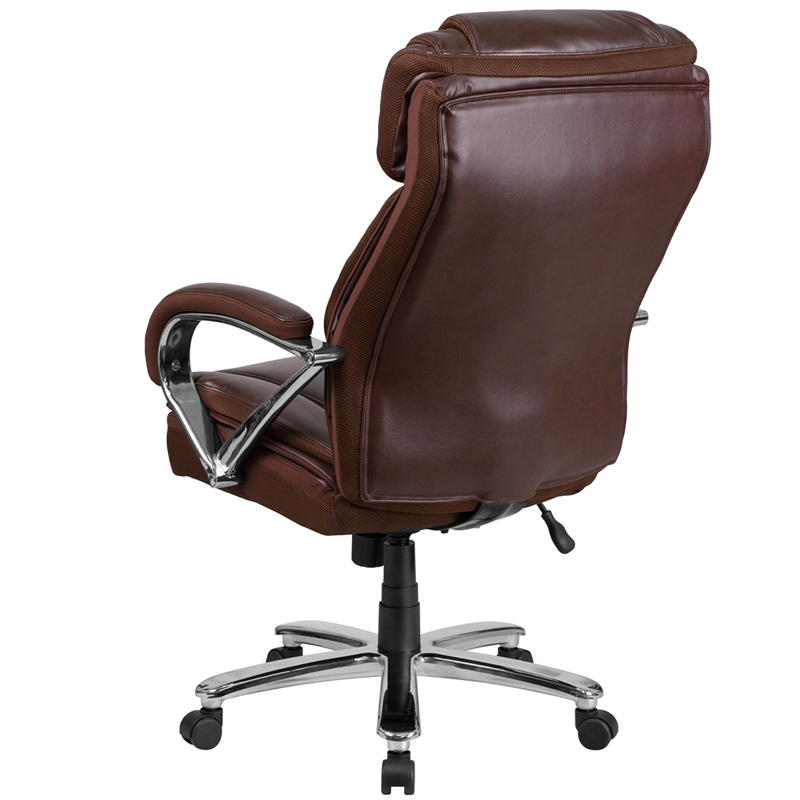 large brown leather chair hercules series big amp tall 500 lb rated brown leather 16352 | hercules series 500 lb capacity big tall brown leather executive swivel office chair with extra wide seat go 2092m 1 bn gg 17