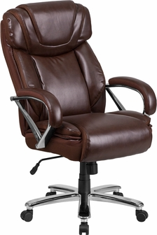 hercules series big u0026 tall 500 lb rated brown leather executive swivel chair with extra wide seat - Tall Office Chair