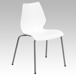HERCULES Series 770 lb. Capacity White Stack Chair with Lumbar Support and Silver Frame [RUT-288-WHITE-GG]