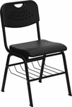 HERCULES Series 880 lb. Capacity Black Plastic Chair with Black Frame and Book Basket [RUT-GK01-BK-BAS-GG]